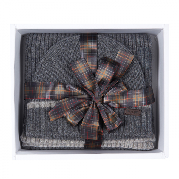 Barbour Beanie & Scarf Gift Set Grey