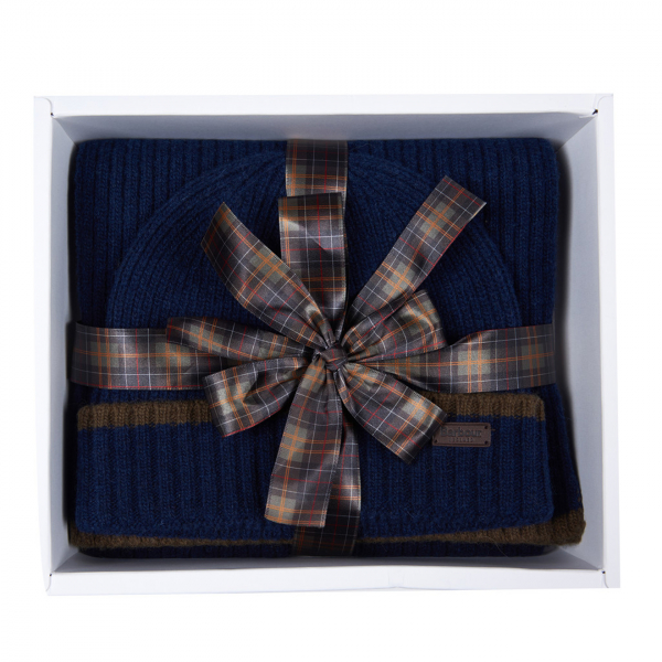 Barbour Beanie & Scarf Gift Set Navy