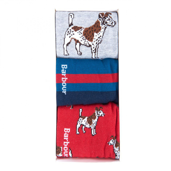 Barbour Dog Sock Gift Box Red / Navy / Grey