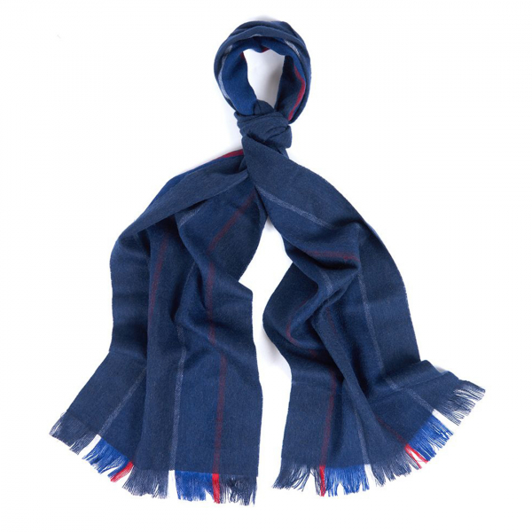 Barbour Essential Stripe Scarf Navy / Red