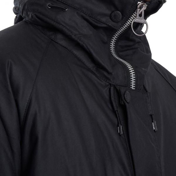 Barbour Fenton Wax Jacket Zippered Collar Black