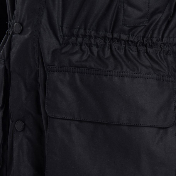Barbour Fenton Wax Jacket Lower Bellow Pocket Black
