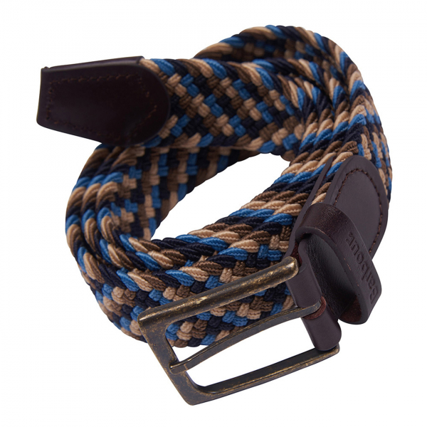 Barbour Ford Belt Blue Navy With Metal-Pronged Buckle