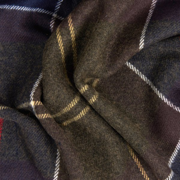 Barbour Galingale Scarf Classic Suede Effect Tartan