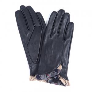 Barbour Glenn Leather Gloves Black / Dress Tartan