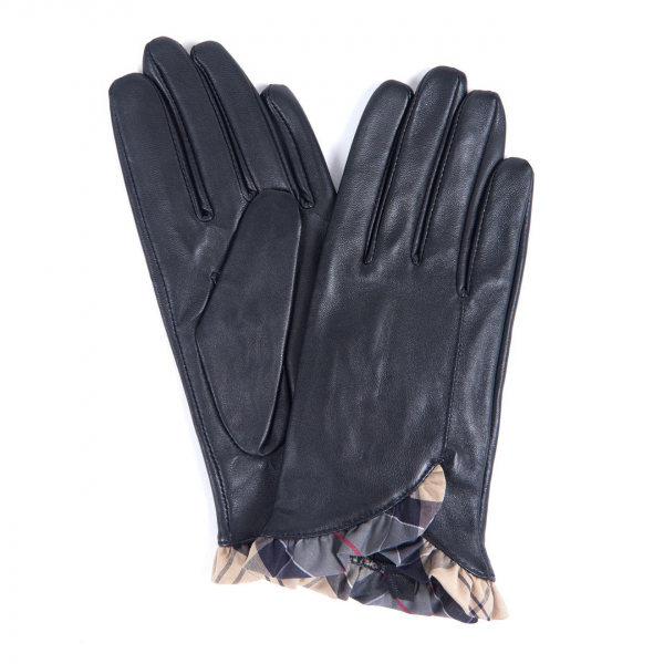 Barbour Glenn Leather Gloves Black / Dress Tartan