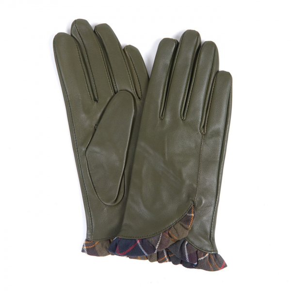 Barbour Glenn Leather Gloves Olive / Classic Tartan