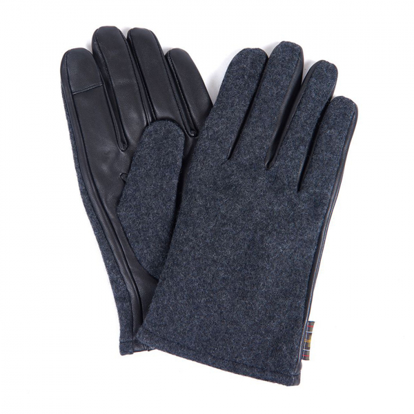 Barbour Meltham Leather Gloves Grey