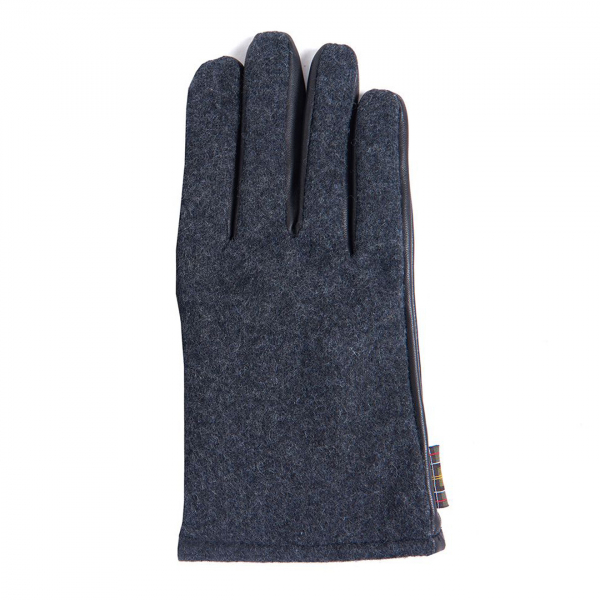 Barbour Meltham Leather and Felted Fabric Gloves Grey