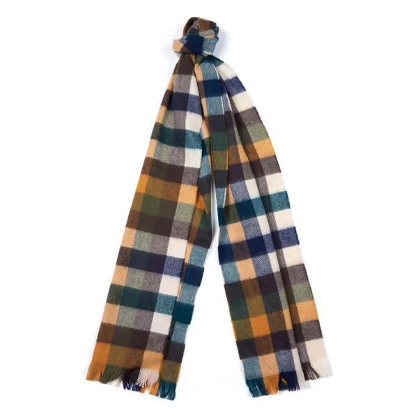 Barbour Nine Square Scarf Green / Mustard