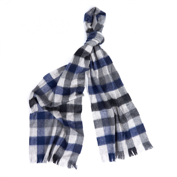 Barbour Nine Square Scarf Grey / Black