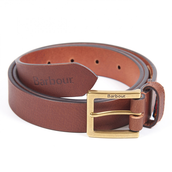 Barbour Pull Up Leather Belt Dark Tan