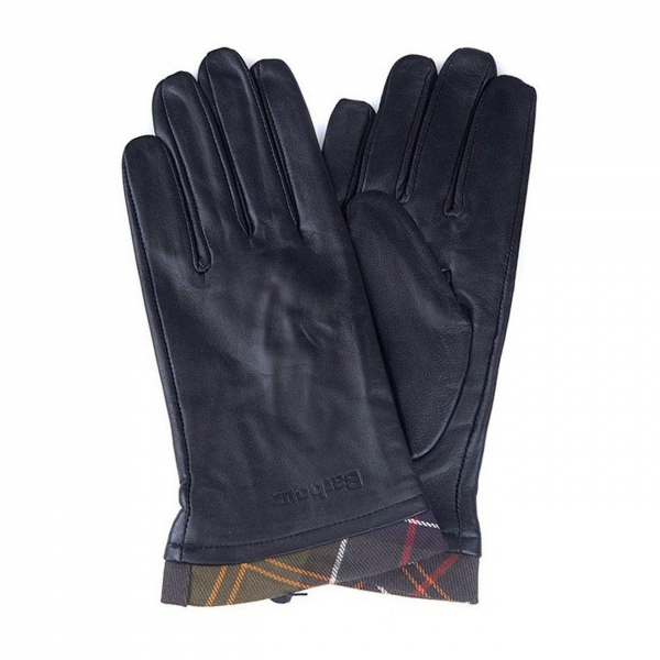 Barbour Tartan Leather Gloves Black / Classic