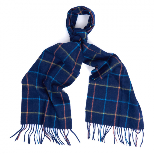 Barbour Tattersall Lambswool Scarf Navy / Blue