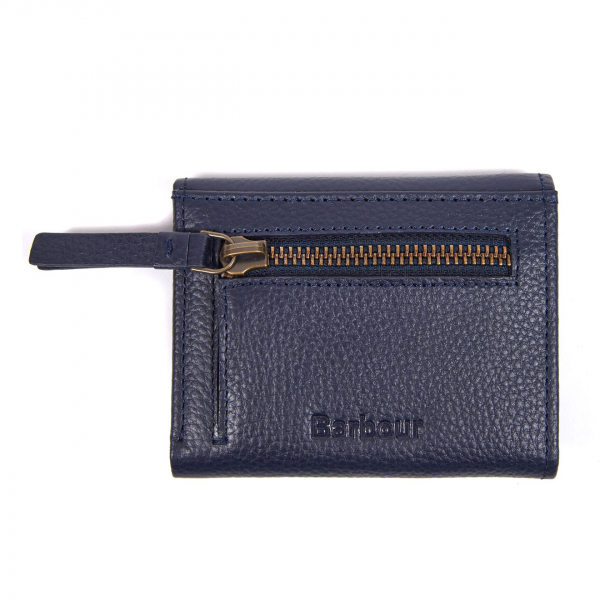 Barbour Womens Billfold Purse Zippered and Embossed With Barbour logo Navy