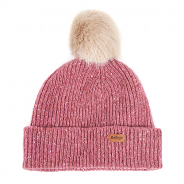 Barbour Womens Foreland Pom Beanie Pink