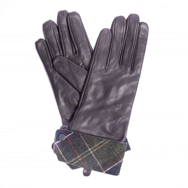 Barbour Womens Lady Jane Gloves Chocolate / Dress Tartan