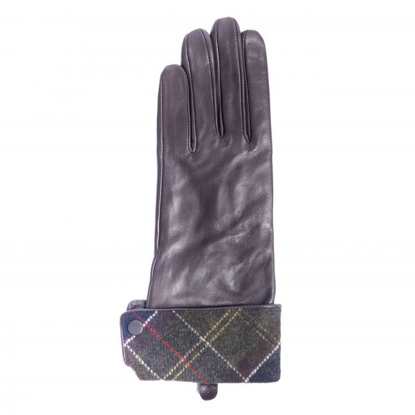 Barbour Womens Lady Jane Gloves Chocolate With Dress Tartan Lined Turn Back
