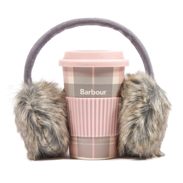 Barbour Womens Mug and Ear Muff Set Pink / Grey