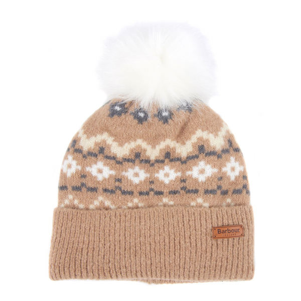 Barbour Womens Roseberry Beanie Hat Mink