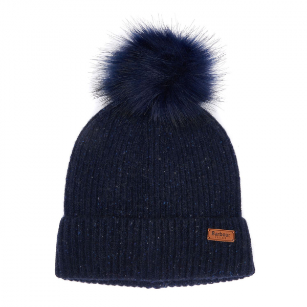 Barbour Womens Weymouth Pom Beanie Hat Navy
