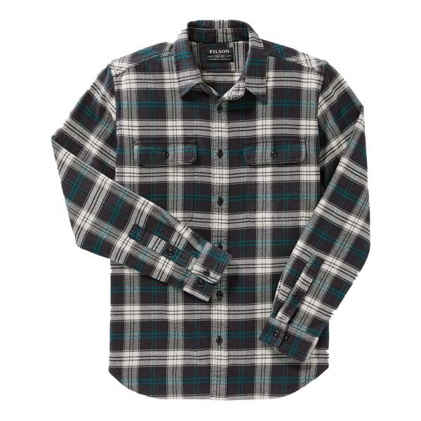 Filson Vintage Flannel Work Shirt Black / Teal / Cream Plaid