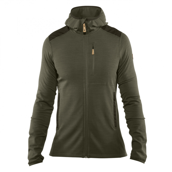 Fjallraven Keb Fleece Hoodie Laurel Green / Deep Forest