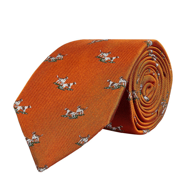 James Purdey Hunting Dogs Tie Burnt Orange