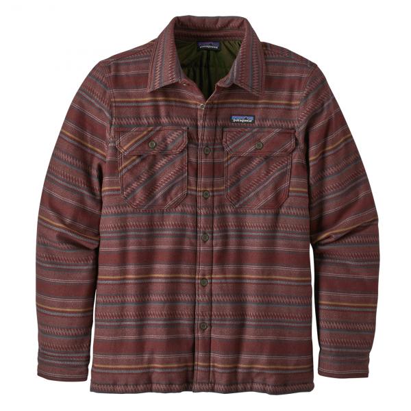 Patagonia Insulated Fjord Flannel Jacket Folk Dobby Dark Ruby