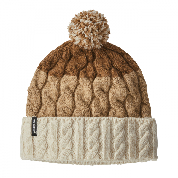 Patagonia Womens Pom Beanie Glacier Stripe Birch White / Bearfoot Tan