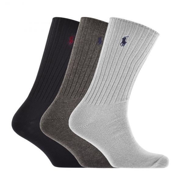 Polo Ralph Lauren 3 Pack Classic Crew Socks Grey / Charcoal / Navy