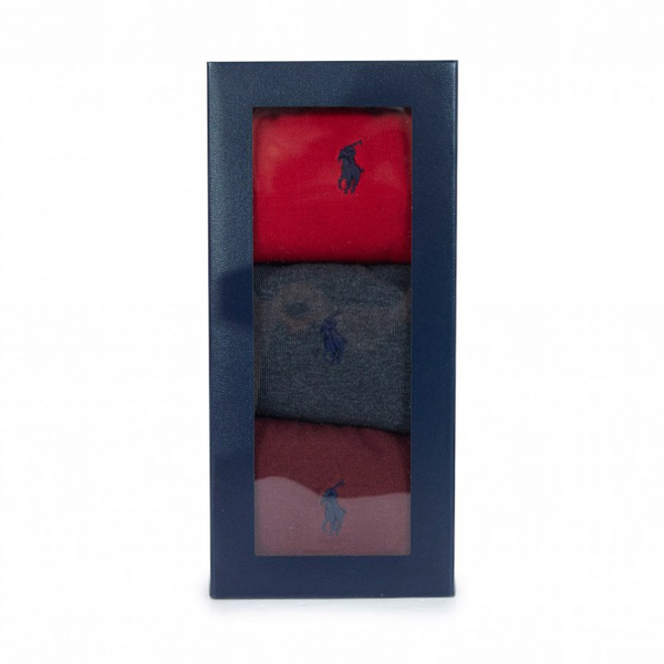 Polo Ralph Lauren 3 Pack Socks Red / Charcoal / Burgundy