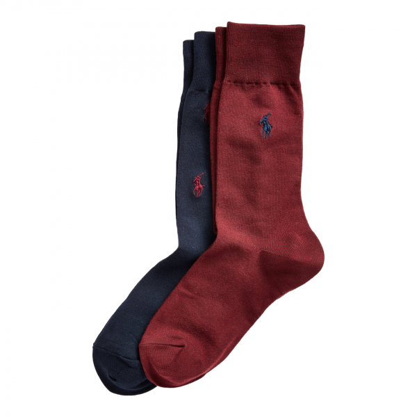 Polo Ralph Lauren All Over Pony 2-Pack Socks Navy / Burgundy