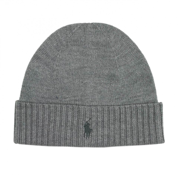 Polo Ralph Lauren Wool Signature Pony Beanie Hat Grey