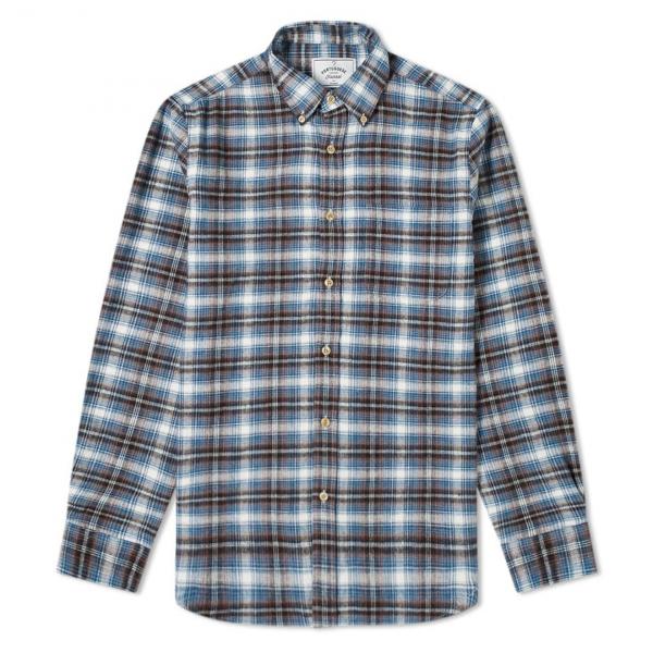 Portuguese Flannel Box Check Shirt Blue