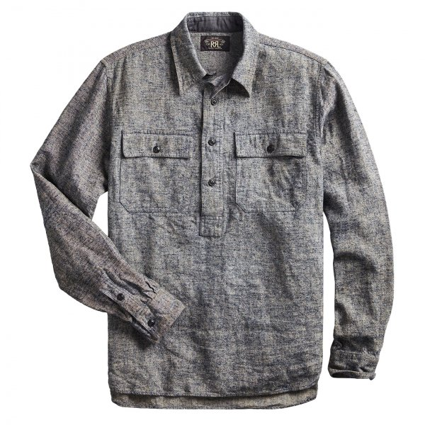 RRL by Ralph Lauren Linen Popover Workshirt Navy