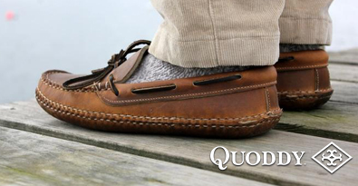 Wearing the Quoddy Camp Driver Shoe Standing on Wooden Decking