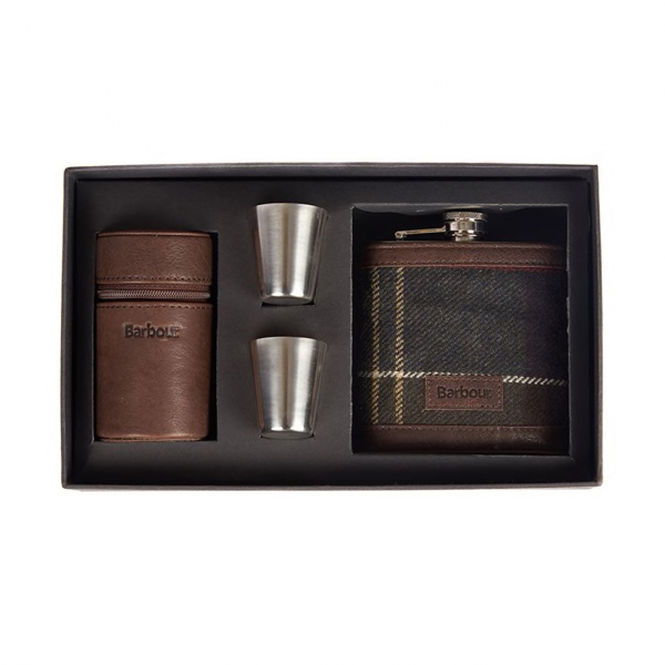 Barbour Tartan Hip Flask and Cup