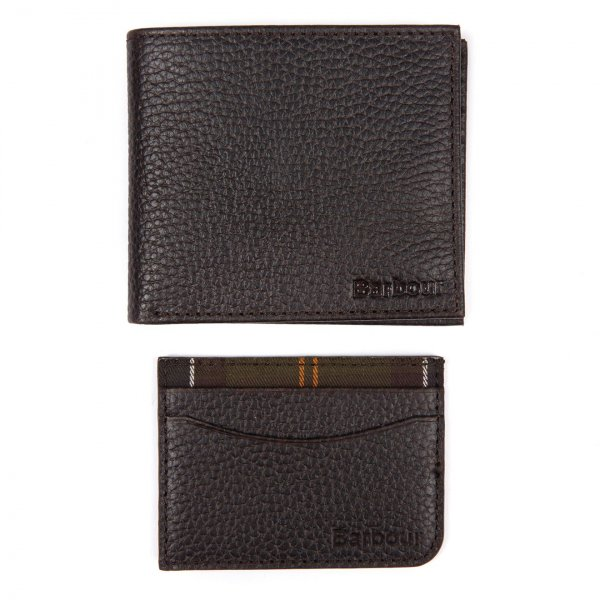 Barbour Wallet Giftset Dark Brown