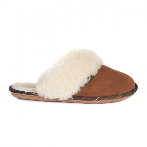 Barbour Womens Lydia Mule Slippers Camel Suede