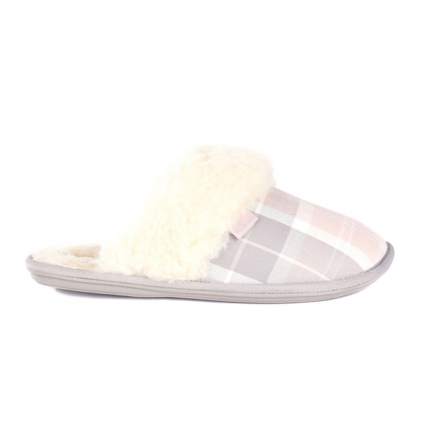 Barbour Womens Lydia Mule Slippers Pink / Grey