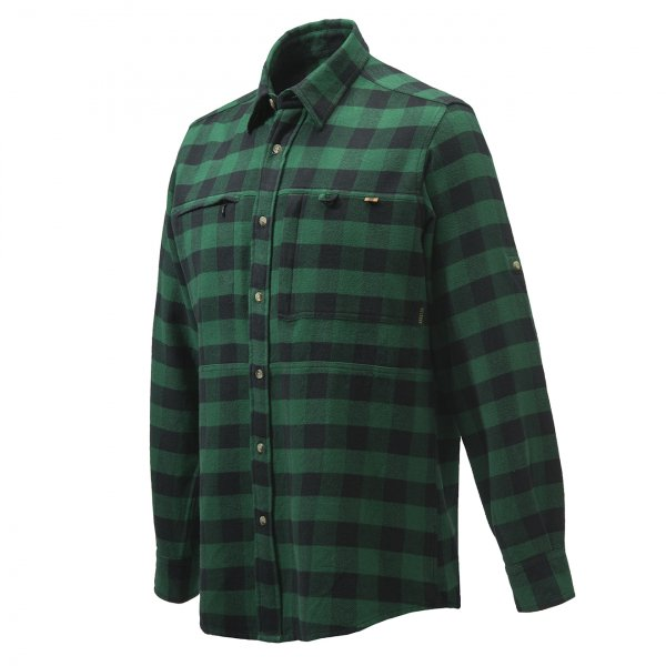Beretta Overshirt Zippered Pocket Green Check