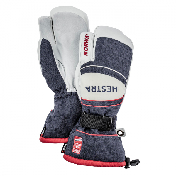 Hestra Army Leather Coach CZone 3 finger Glove Navy / Red