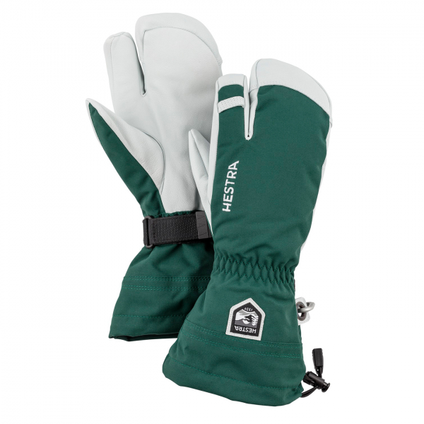 Hestra Army Leather Heli Ski 3 Finger Glove Bottle Green