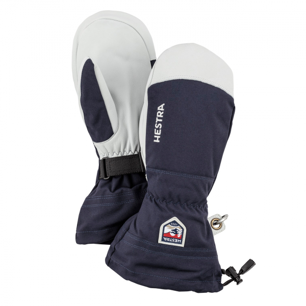 Hestra Army Leather Heli Ski Mitt Glove Navy