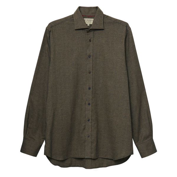 James Purdey Herringbone Brushed Cotton Shirt Sage
