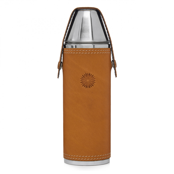 James Purdey Leather Covered Hunter Flask with 4 Cups London Tan