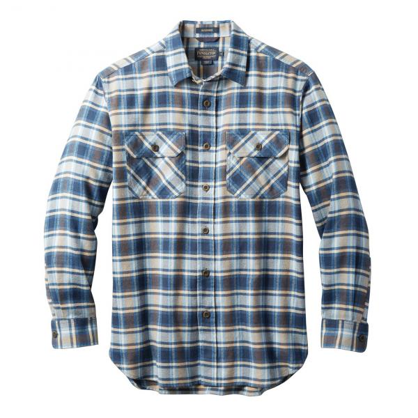 Pendleton Burnside Flannel Shirt Light Blue / Navy / Brown Plaid