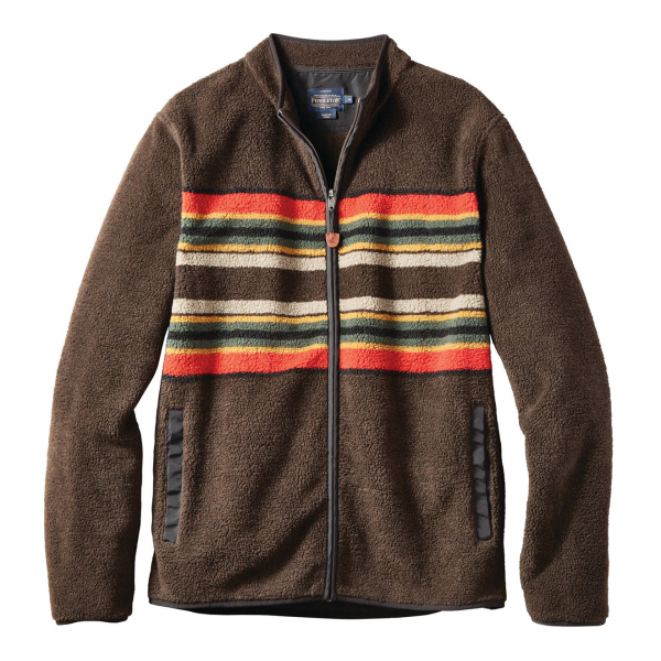 Pendleton Camp Stripe Fleece Jacket Brown