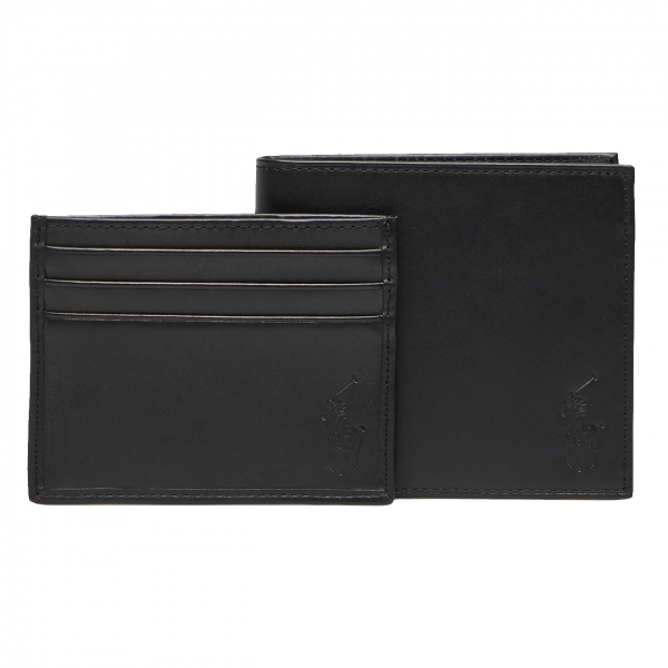 Polo Ralph Lauren Billfold Wallet and Card Case Gift Set Smooth Leather Black